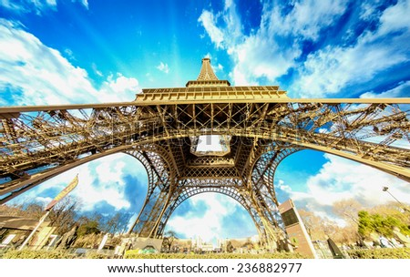 Eiffel Tower glory on a cold and sunny Winter day in Paris France