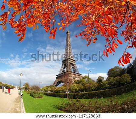 Eiffel Tower in autumn Paris France
