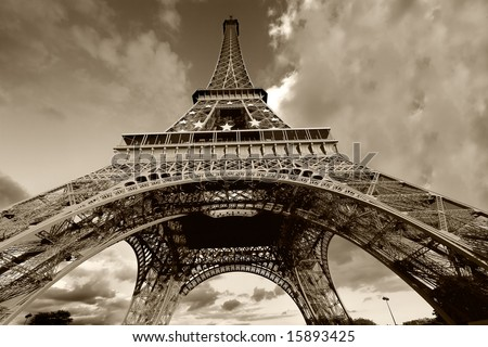 Eiffel Tower in black and white, Paris (France) - stock photo