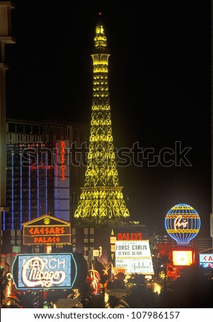 Eiffel Tower in Las Vegas, Nevada at night