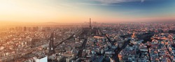 Eiffel tower in Paris at sunset - cityscape