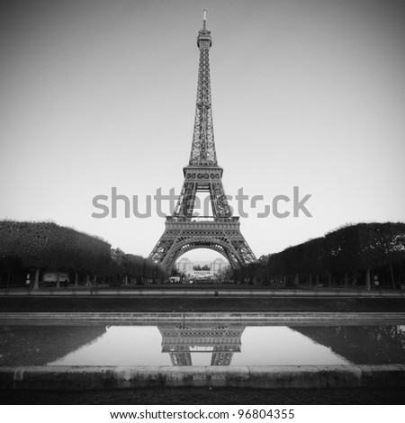 Eiffel Tower Picture Black  White on Eiffel Tower In Paris   Black And White Stock Photo 96804355