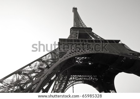 Eiffel Tower Colering Pictures on Eiffel Tower In Paris  France In Black And White Color Stock Photo