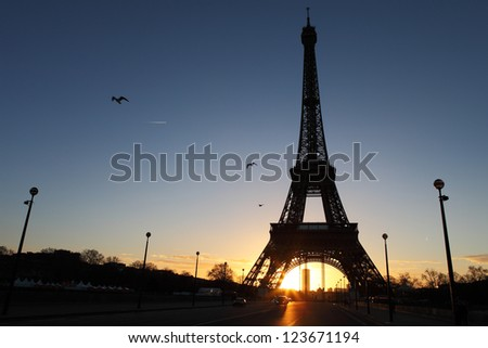 Eiffel Tower in Paris on the morning