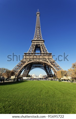 Eiffel tower in Paris with gorgeous colors in autumn