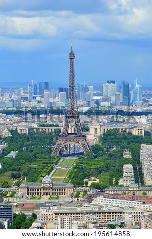 Eiffel Tower in the background clear sky Landmark - Shutterstock ID 195614858