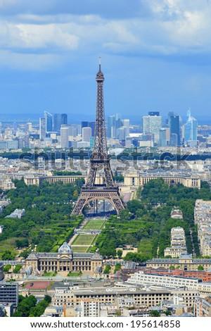 Eiffel Tower in the background clear sky Landmark - Shutterstock ID 195614858