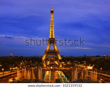 Eiffel tower in the evening #1021359532