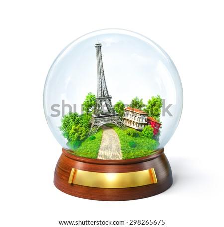 Eiffel tower in the glass ball. Unusual travel illustration. Paris
