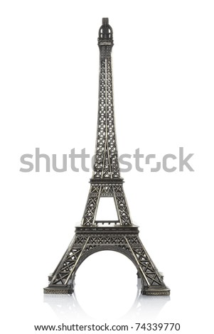 Eiffel tower isolated on white background, clipping path included