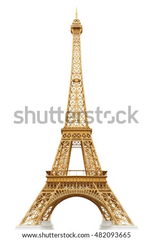 Eiffel tower isolated on white background with clipping path #482093665
