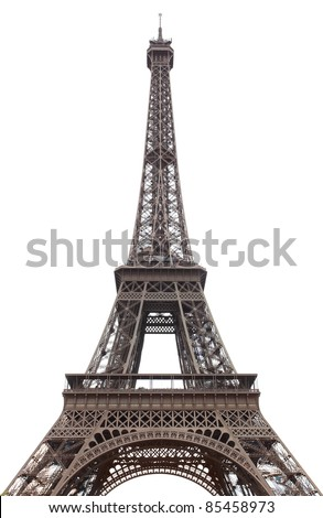 Eiffel tower isolated over the white background