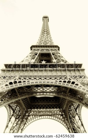 Free Eiffel Tower Picture Sepia on Eiffel Tower Isolated   Sepia Toned Stock Photo 62459638