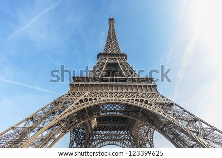 Eiffel Tower (La Tour Eiffel) located on Champ de Mars in Paris, named after engineer Gustave Eiffel. Eiffel Tower is tallest structure in Paris and most visited monument in the world. France. stock photo