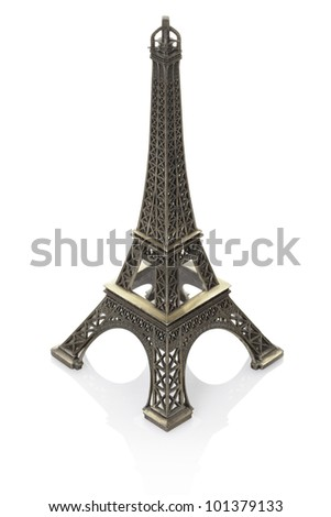 Eiffel tower model isolated on white background, clipping path included
