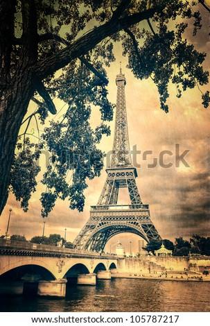 Eiffel tower monochrome vintage