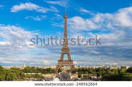 Eiffel Tower most visited monument in France and the most famous symbol of Paris stock photo