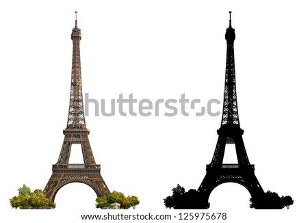 Eiffel Tower of Paris isolated photograph with corresponding grayscale alpha mask