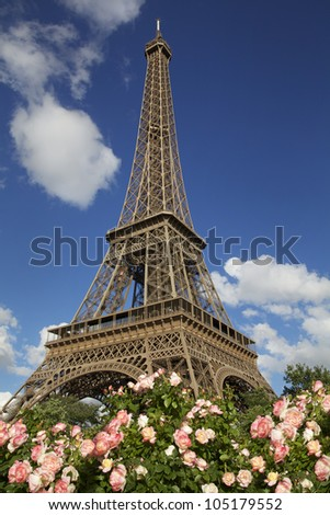 Eiffel Tower on a clear day on summer with roses on the foreground