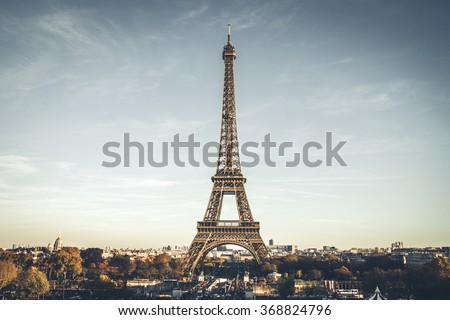 Eiffel Tower on beautiful autumn evening