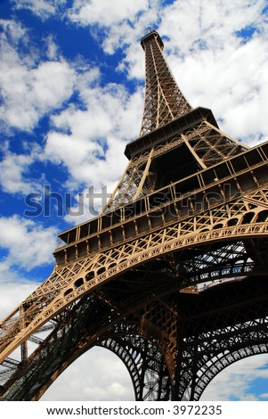 Eiffel tower on blue sky background. Paris, France.