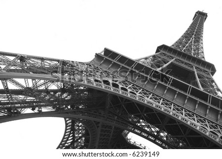 stock photo : Eiffel tower on clear background in black and white