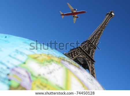 Eiffel tower on the globe