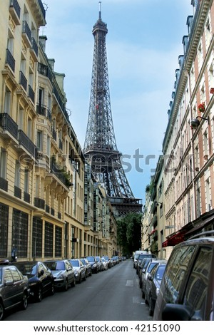 Eiffel Tower on the street in Paris, France