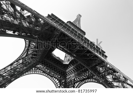 Eiffel tower, Paris. Black and white image - stock photo