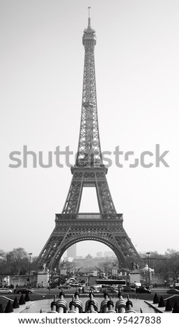 Eiffel Tower Picture Black  White on Eiffel Tower  Paris  Black And White Image Stock Photo 95427838