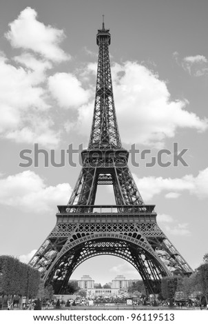 Eiffel Tower Picture Black  White on Eiffel Tower  Paris  Black And White Image Stock Photo 96119513