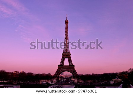 Paris France Eiffel Tower Pictures on Eiffel Tower Paris France By Sunset Stock Photo 59476381