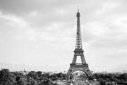 Eiffel Tower. Paris. France. Famous historical landmark on the quay of a river Seine. Romantic, tourist, architecture symbol. BW. Black  and white