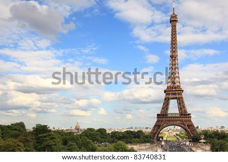 Eiffel Tower - Paris travel icon. Day with vlue sky.