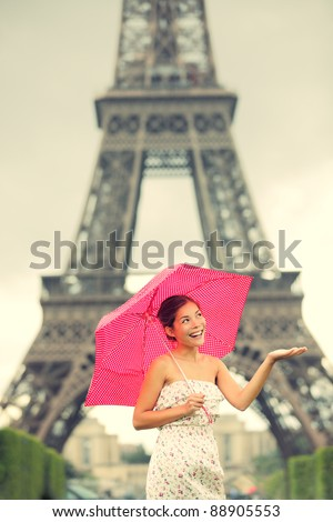 Rainy Eiffel Tower Pictures on Eiffel Tower Paris Woman  Cute Beautiful Young Woman In Dress Smiling