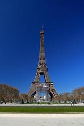 Eiffel Tower seen from Champ de Mars Park, March 2021