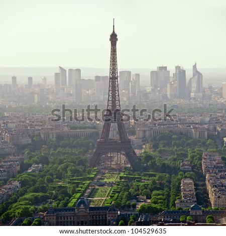 Eiffel tower seen from the top of montparnasse tower - Paris - France