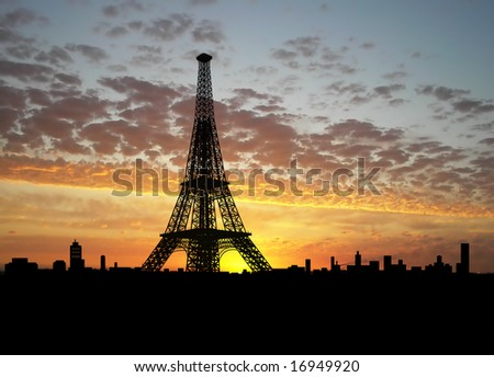 Eiffel Tower silhouette over sunset