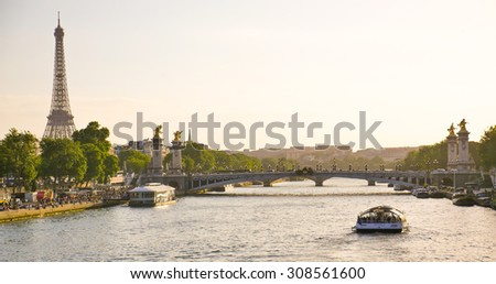 Eiffel Tower since Alexandre III Bridge in Paris France