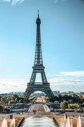 Eiffel Tower Street view, holiday sunrise, Paris 2018