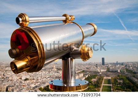 Eiffel Tower telescope overlooking for Paris.