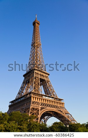 Eiffel tower under last sunlight. Vertical wide angle. France