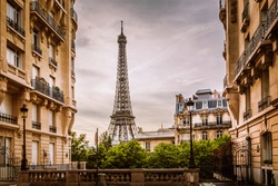 Eiffel Tower view from a residential corner in Paris, France
