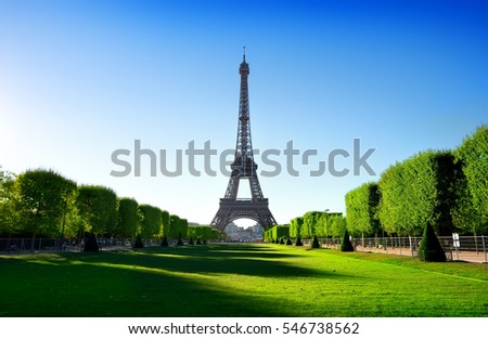 Eiffel Tower view from Champ de Mars in Paris, France Stock photo ©