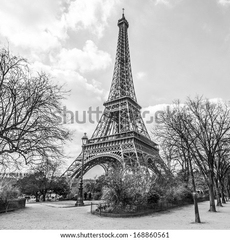Eiffel tower view from Champ de Mars in Paris France black and white
