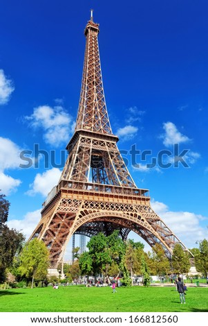 Eiffel Tower view from the Champs de Mars.Paris France