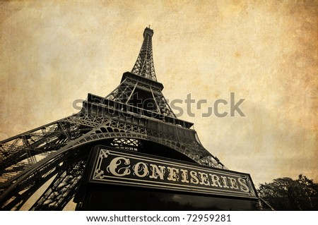 Eiffel tower vintage postcard - stock photo