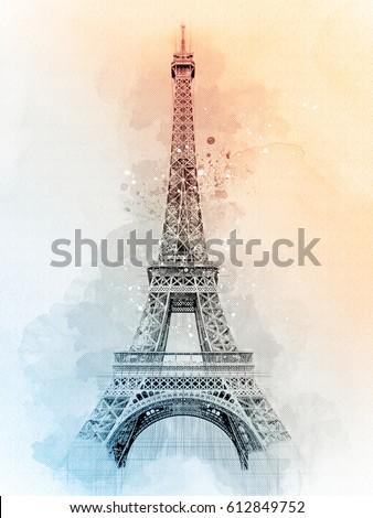 Eiffel Tower Watercolor Sketch