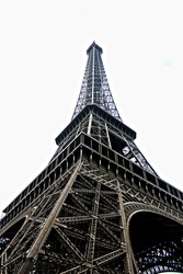 Eiffel Tower white background low angle