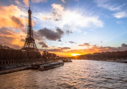 Eiffel Tower with fiery sky in the background, Paris, France